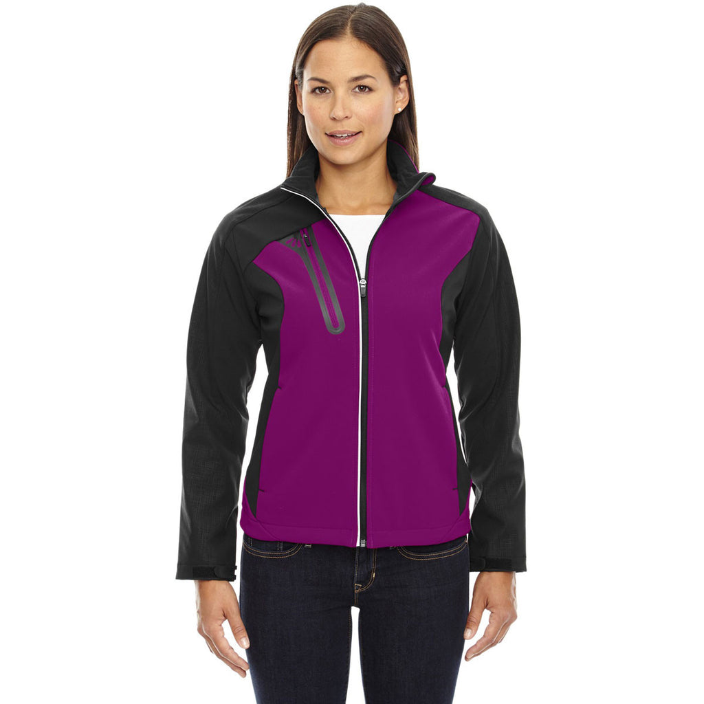 North End Women's Raspberry Terrain Colorblock Soft Shell with Embossed Print