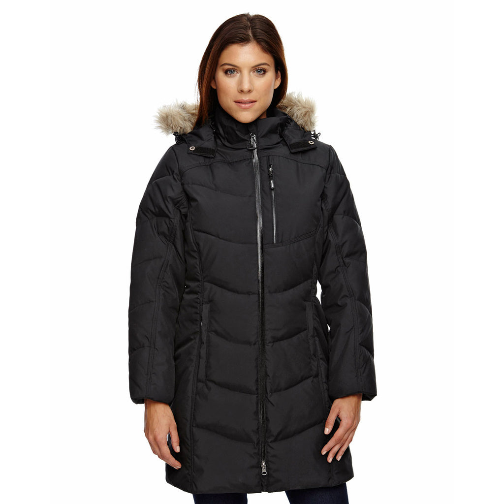 North End Women's Black Boreal Down Jacket with Faux Fur Trim