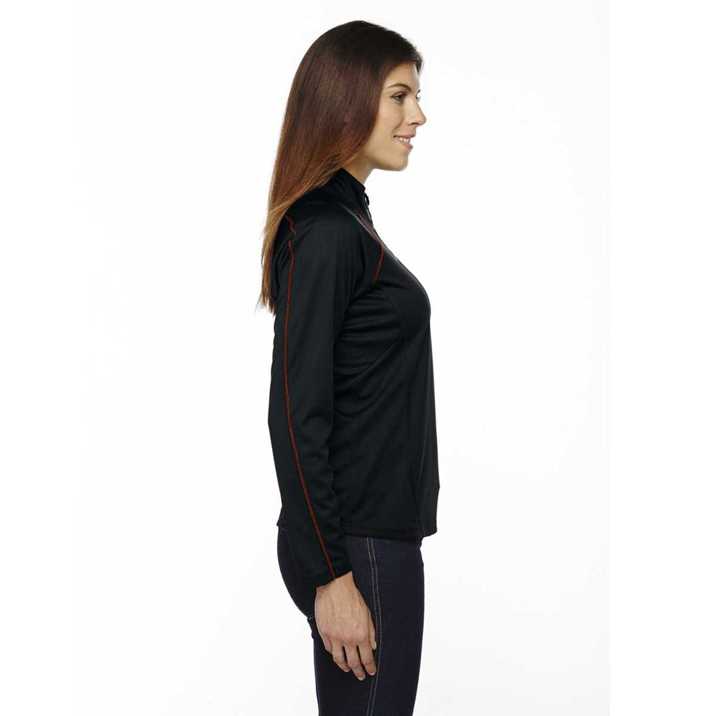 North End Women's Black/Classic Red Radar Half-Zip Performance Long-Sleeve Top