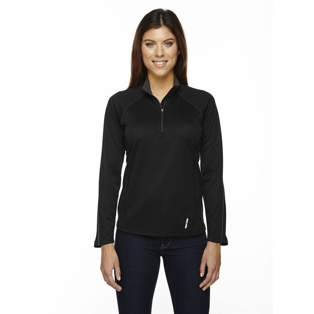North End Women's Black Radar Half-Zip Performance Long-Sleeve Top