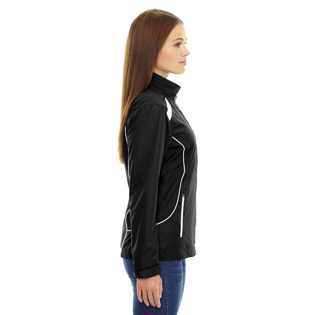 North End Women's Black Tempo Lightweight Recycled Polyester Jacket with Embossed Print