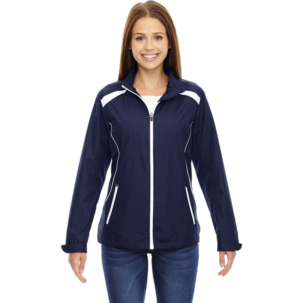 North End Women's Classic Navy Tempo Lightweight Recycled Polyester Jacket with Embossed Print