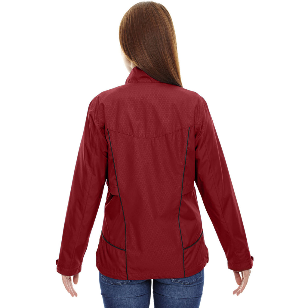 North End Women's Classic Red Tempo Lightweight Recycled Polyester Jacket with Embossed Print