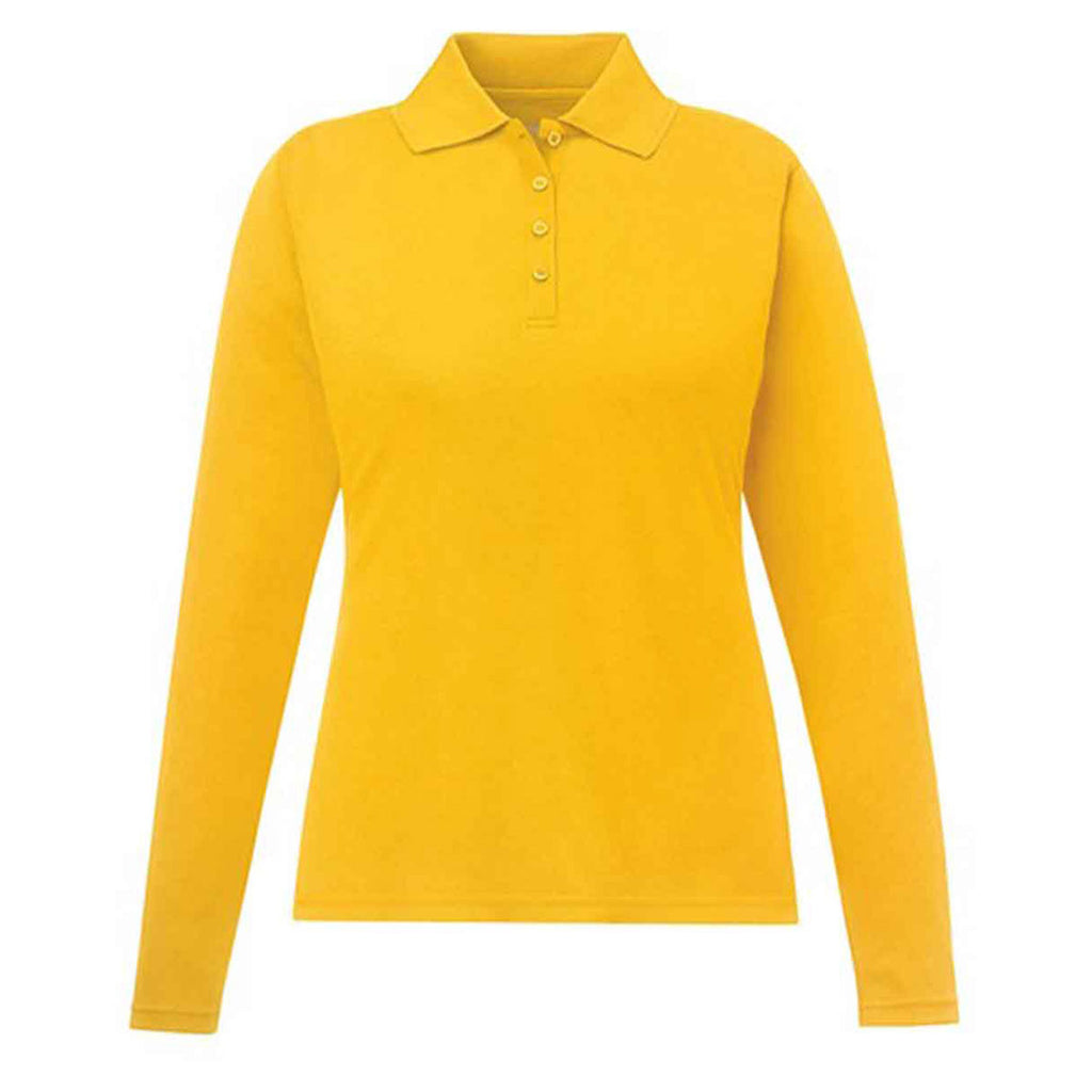 Core 365 Womens Campus Gold Pinnacle Performance Long Sleeve Pique Po