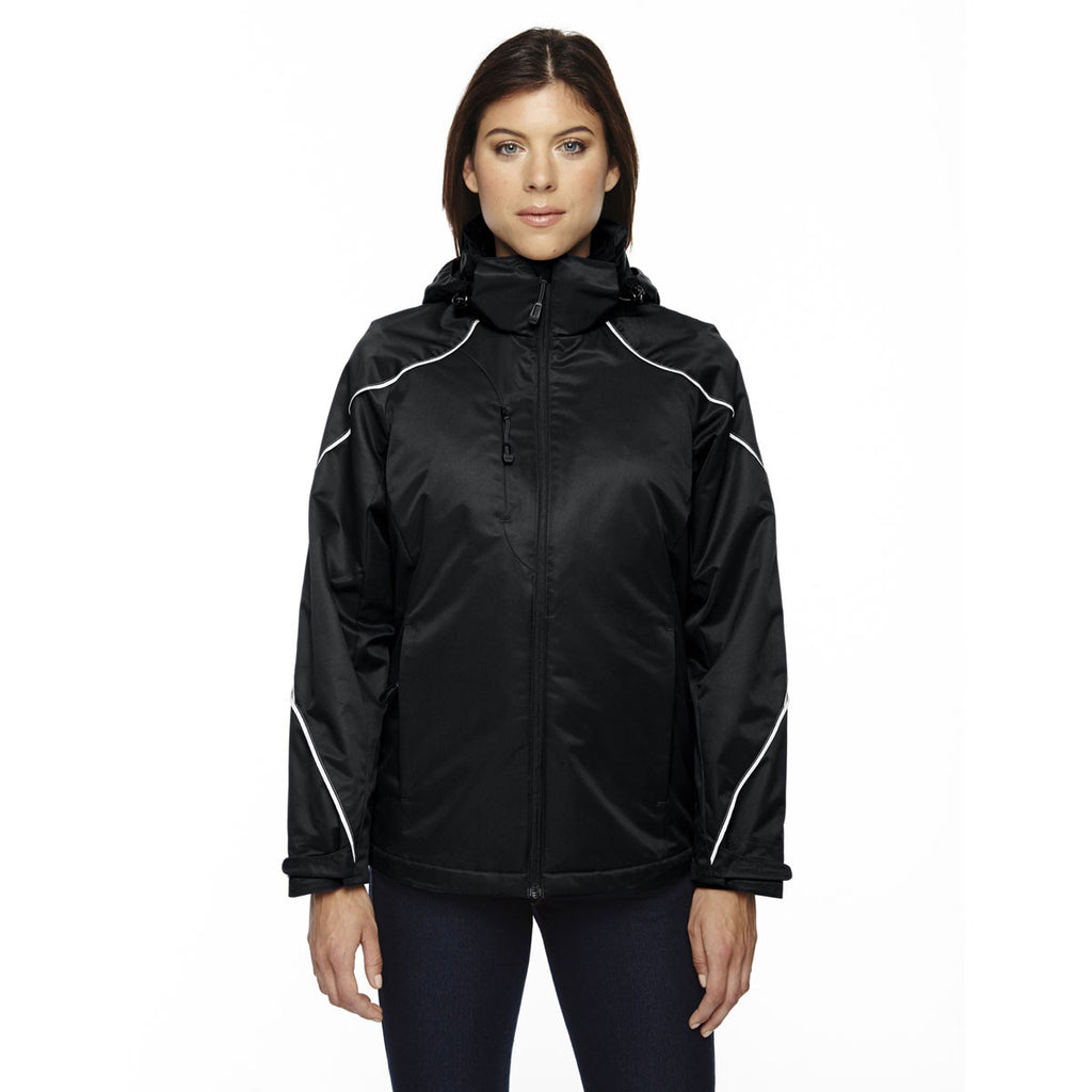 North End Women's Black Angle 3-In-1 Jacket with Bonded Fleece Liner
