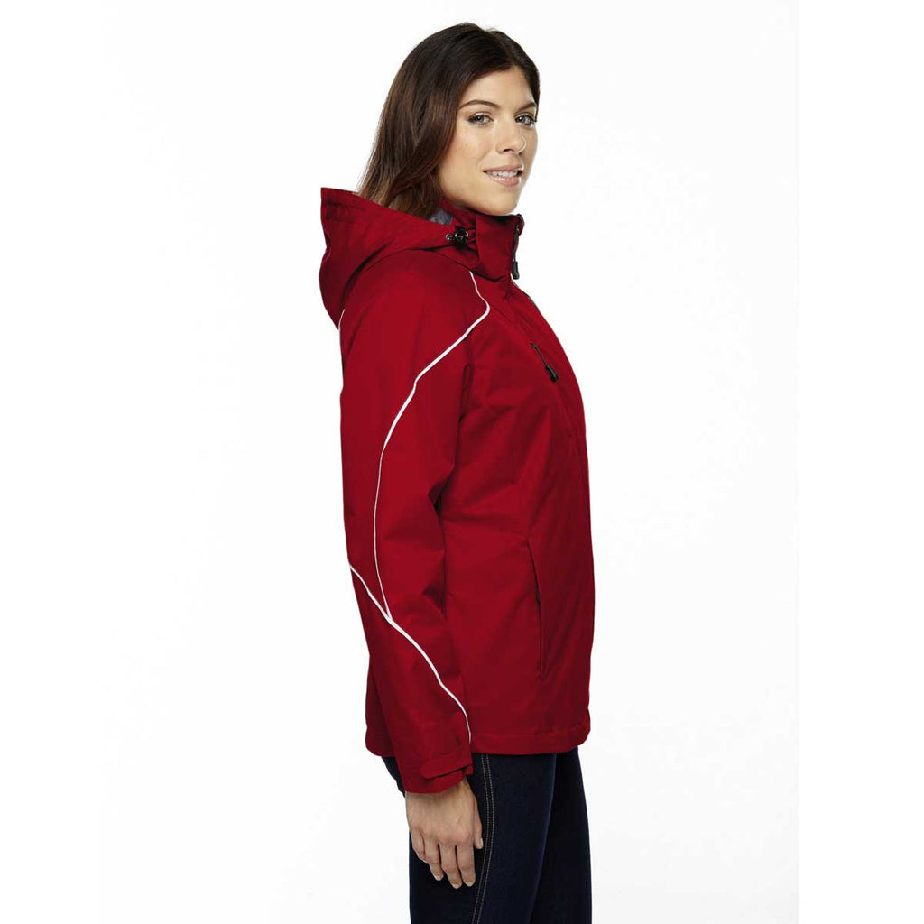 North End Women's Classic Red Angle 3-In-1 Jacket with Bonded Fleece Liner