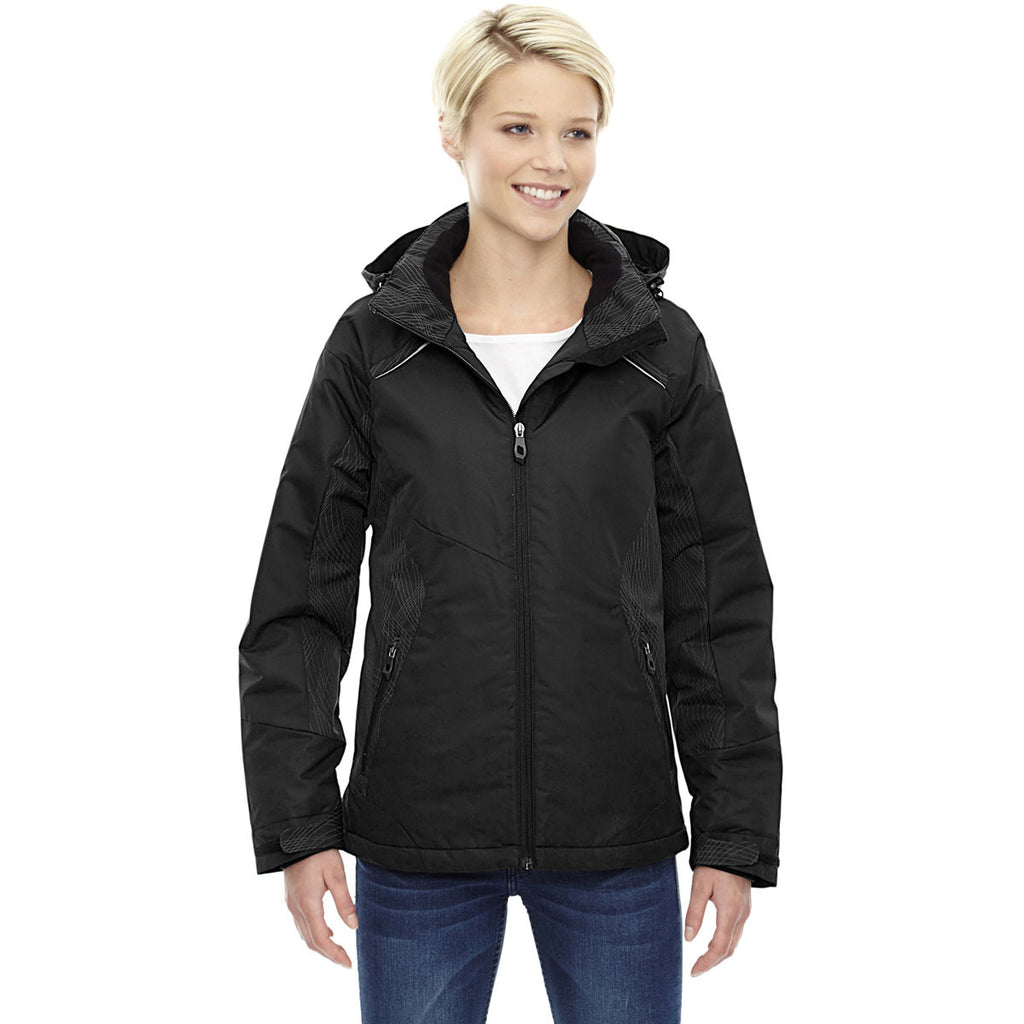 North End Women's Black Linear Insulated Jacket with Print
