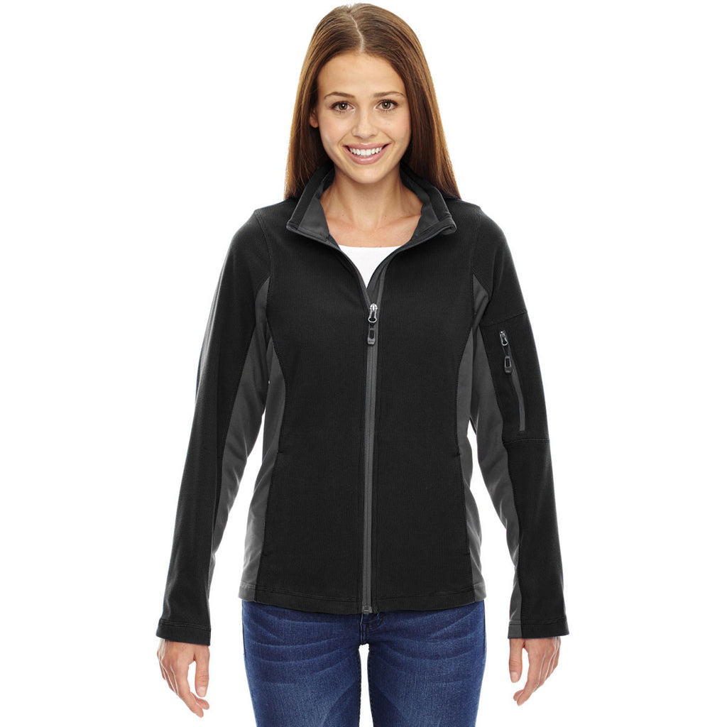 North End Women's Black Generate Textured Fleece Jacket