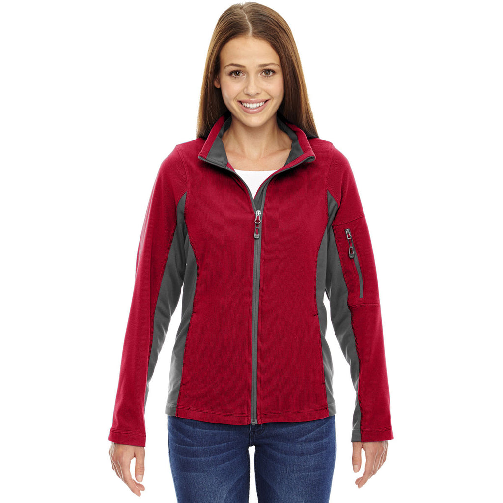 North End Women's Classic Red Generate Textured Fleece Jacket