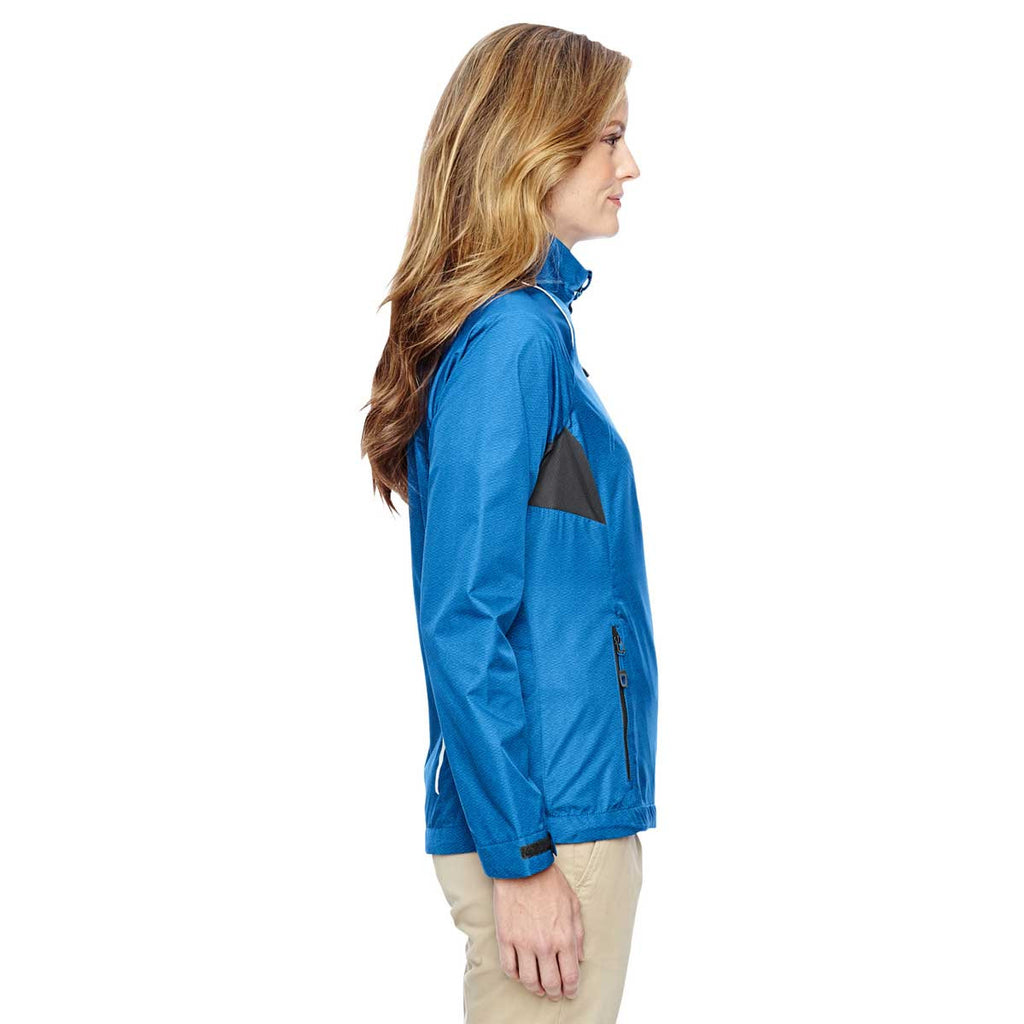 North End Women's Nautical Blue Sustain Lightweight Recycled Polyester Dobby Jacket with Print