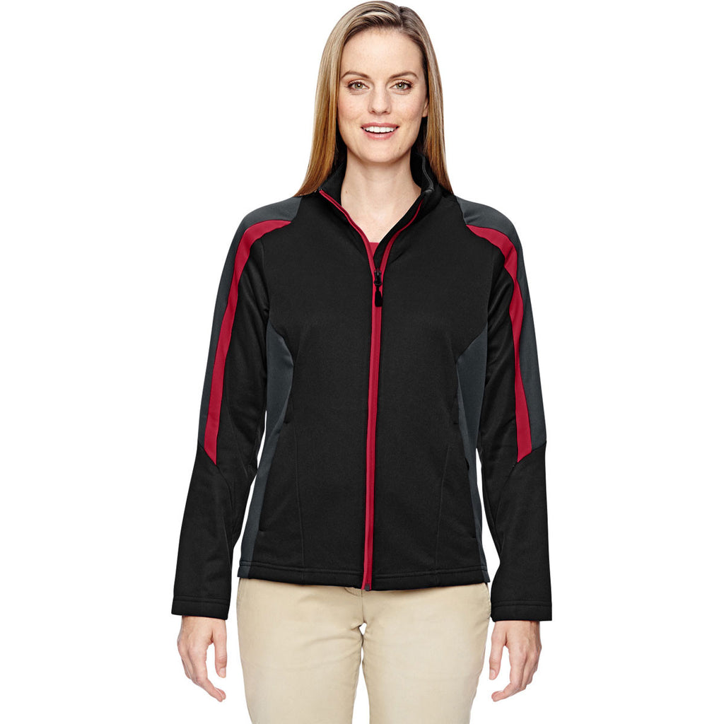 North End Women's Black/Classic Red Strike Colorblock Fleece Jacket