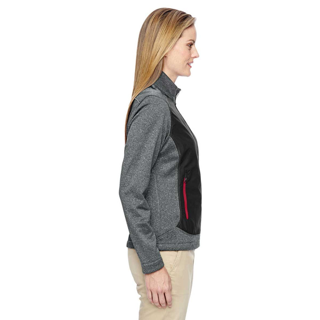 North End Women's Black/Classic Red Victory Hybrid Performance Fleece Jacket