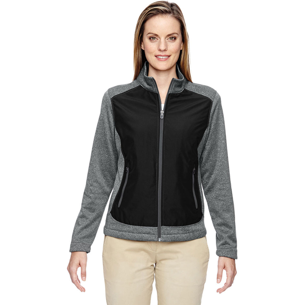 North End Women's Black Victory Hybrid Performance Fleece Jacket
