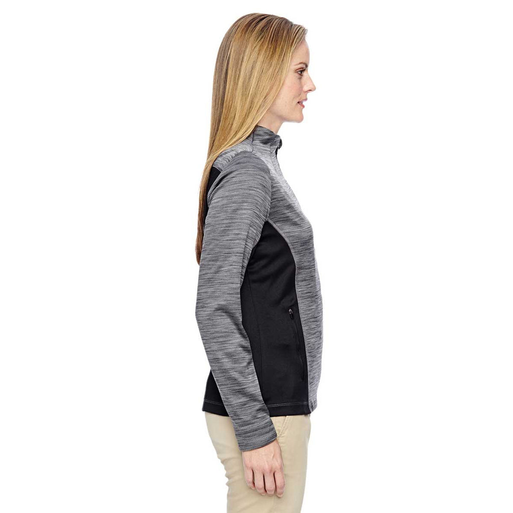 North End Women's Black Shuffle Performance Melange Interlock Jacket