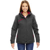 North End Women's Carbon/Claret Red Rivet Textured Twill Insulated Jacket