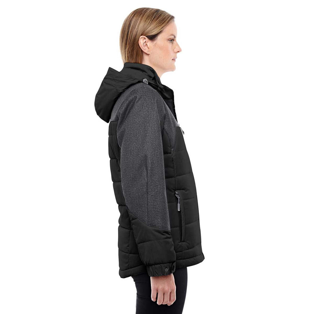North End Women's Black/Dark Graphite Heather Insulated Jacket with Melange Print