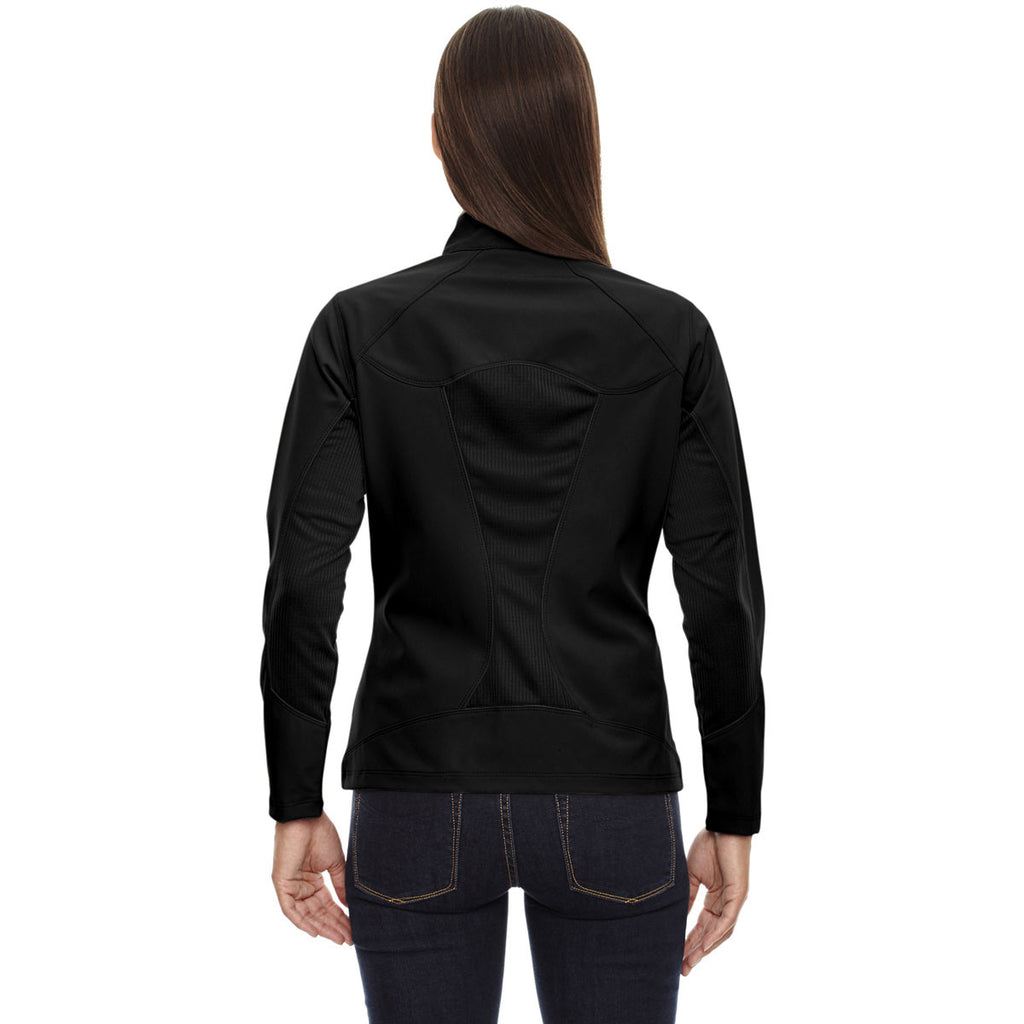 North End Women's Black Three-Layer Light Bonded Soft Shell Jacket