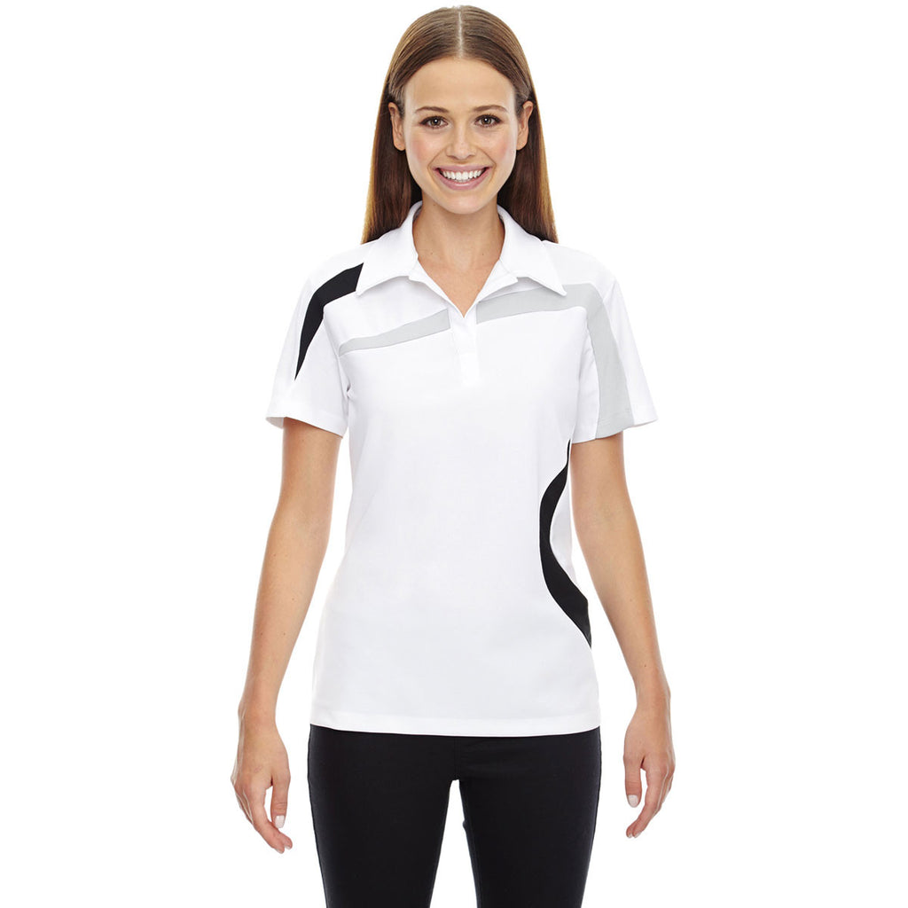 North End Women's White Impact Performance Colorblock Polo
