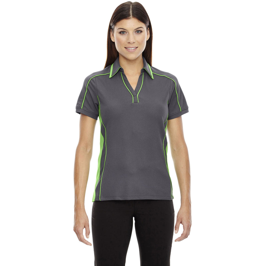 North End Women's Black Silk/ Acid Green Sonic Performance Polo
