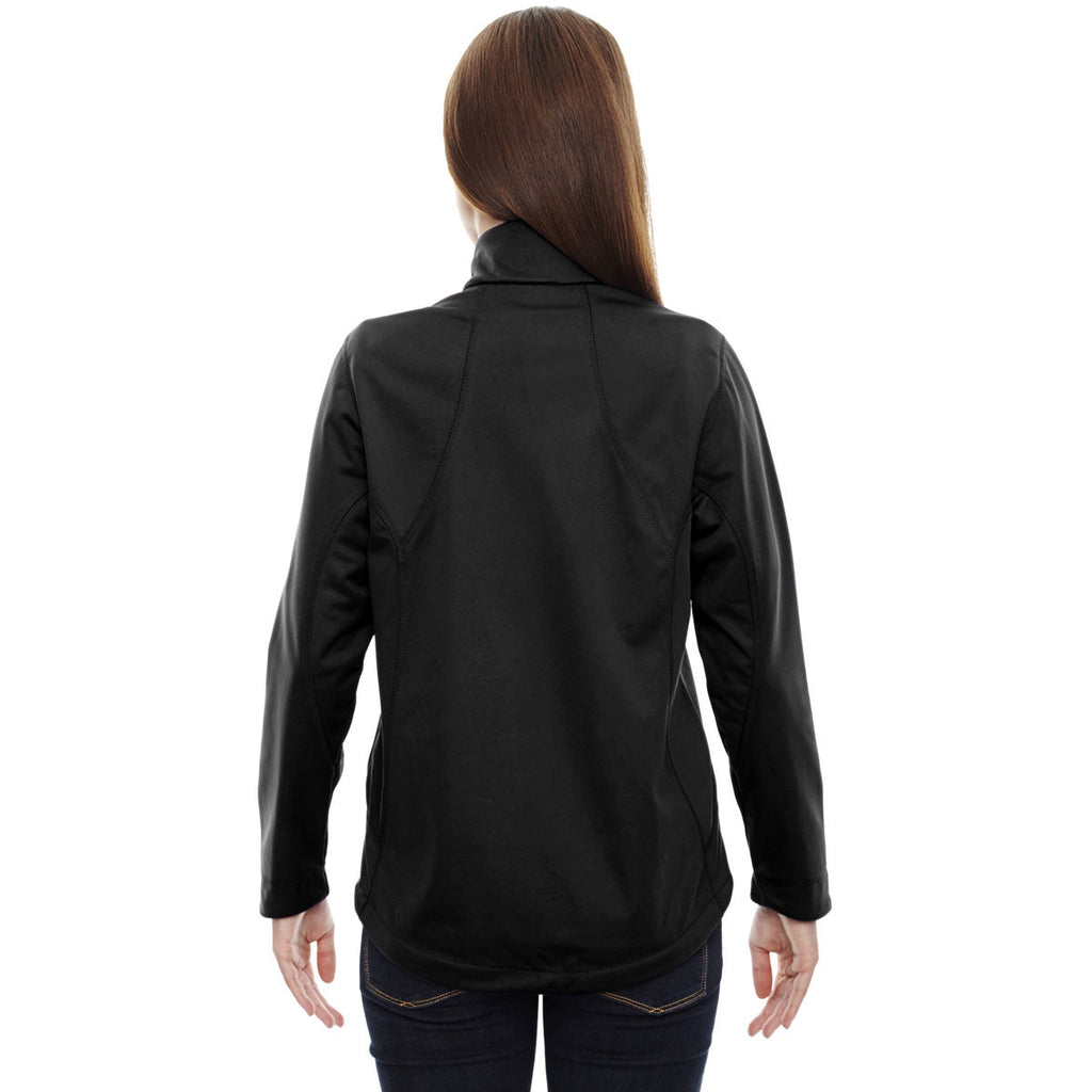 North End Women's Black Splice Soft Shell Jacket with Laser Welding