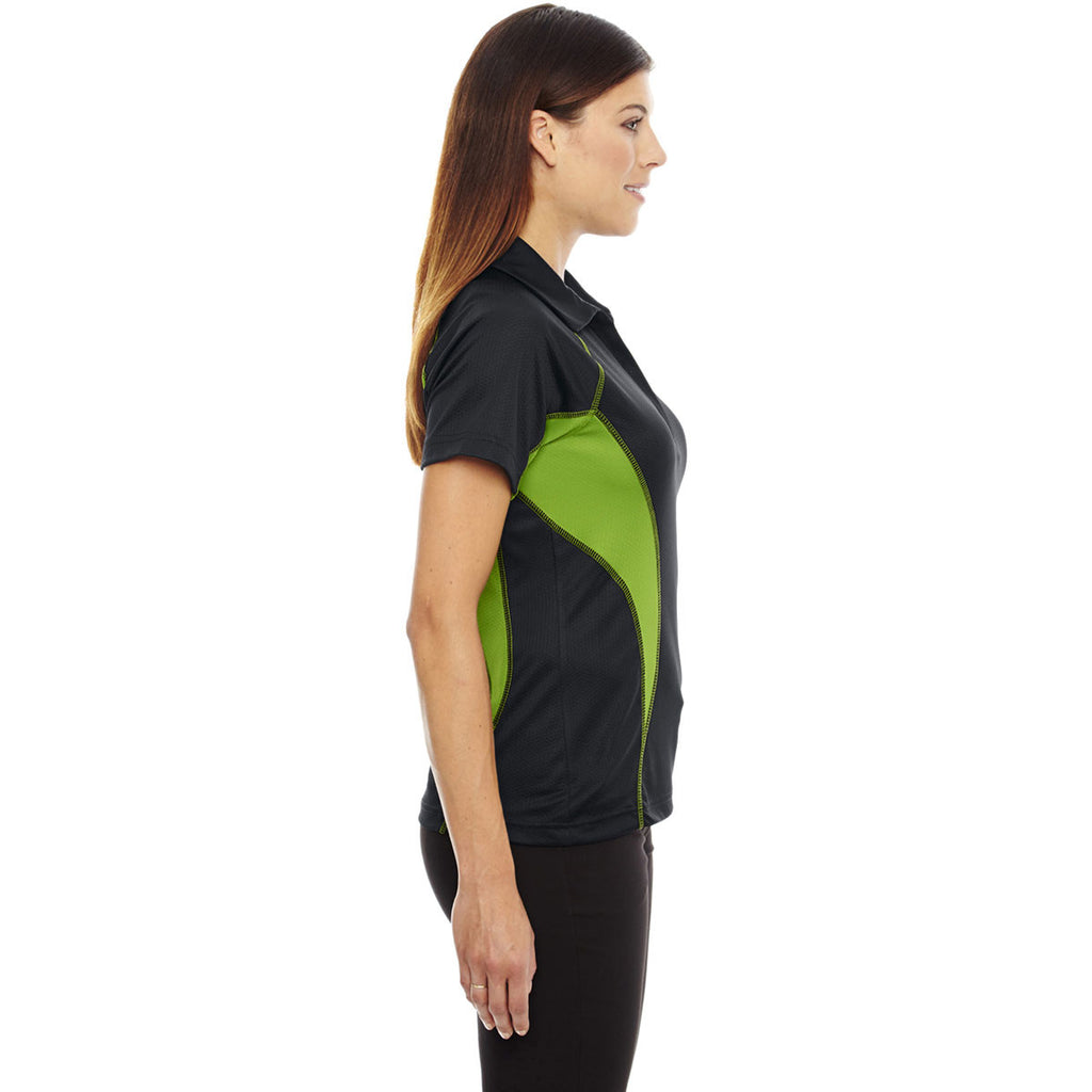 North End Women's Black/Acid Green Serac Performance Zippered Polo