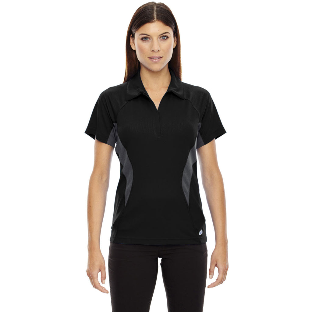 North End Women's Black Serac Performance Zippered Polo