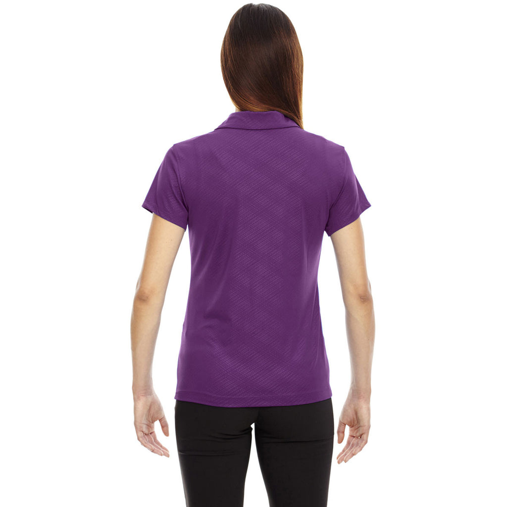 North End Women's Mulberry Purple Stretch Embossed Print Polo