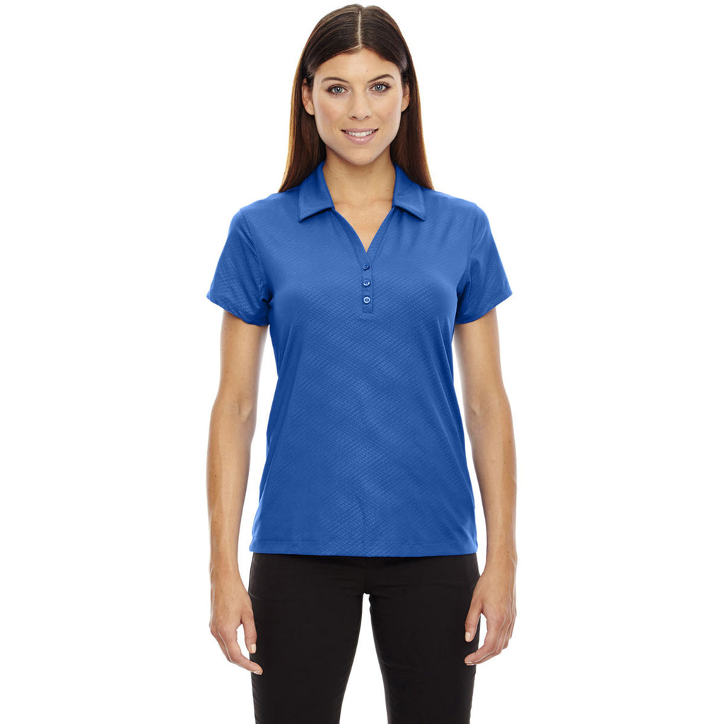North End Women's Nautical Blue Stretch Embossed Print Polo