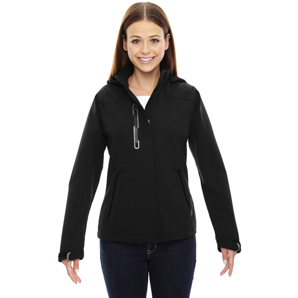 North End Women's Black Axis Jacket with Print Graphic Accents