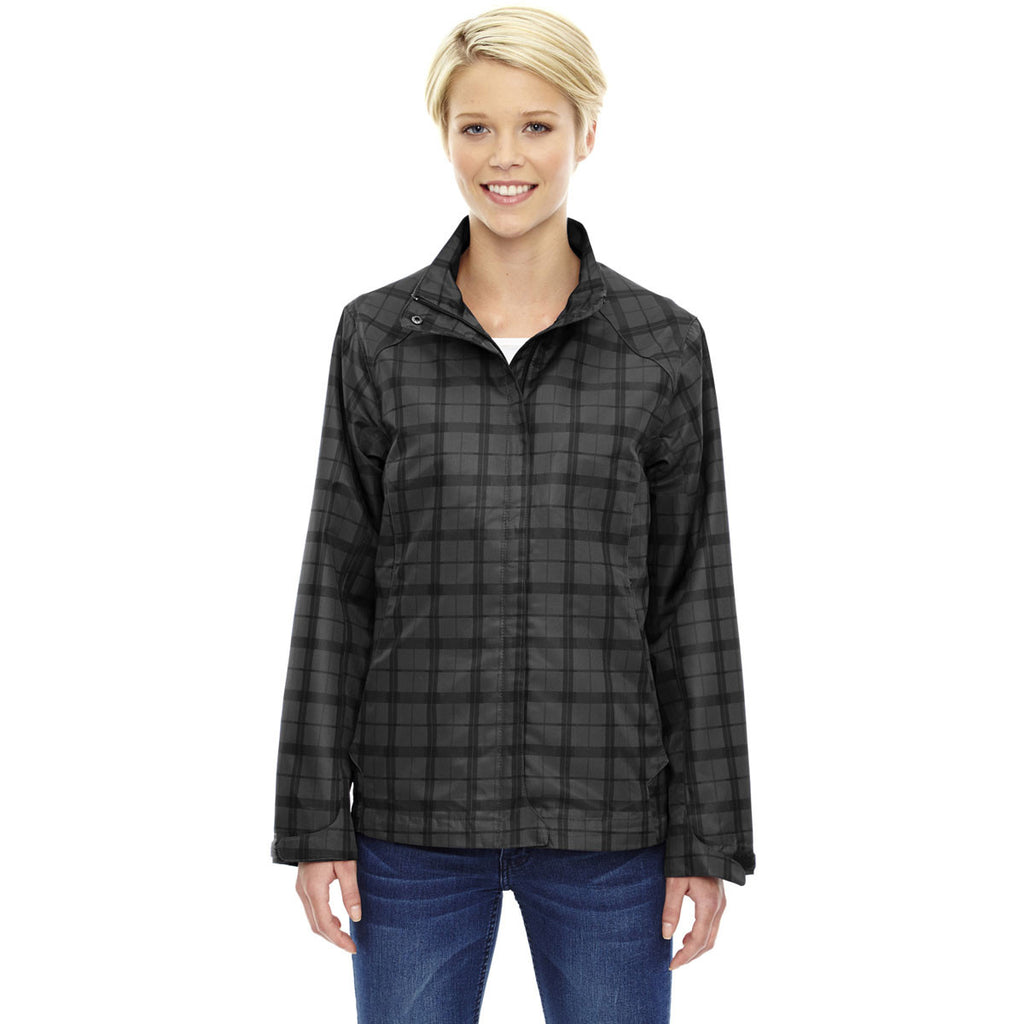 North End Women's Black Locale Lightweight City Plaid Jacket