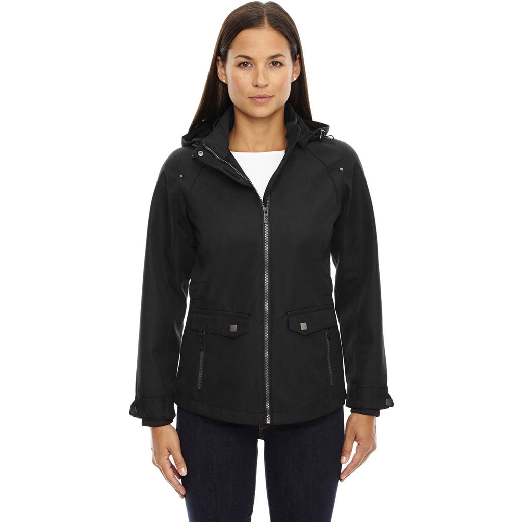North End Women's Black Uptown City Textured Soft Shell Jacket