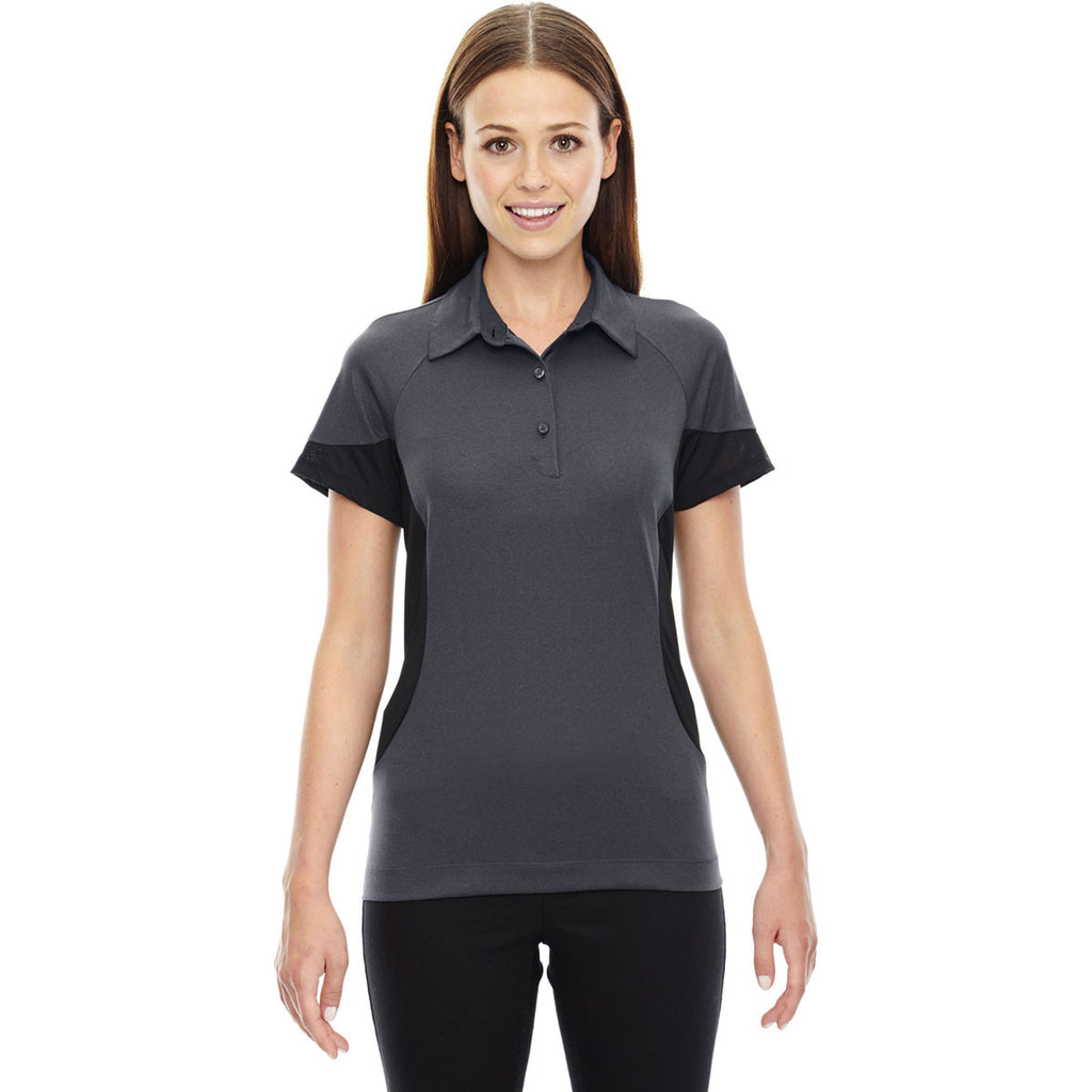 North End Women's Carbon Refresh Coffee Performance Melange Jersey Polo