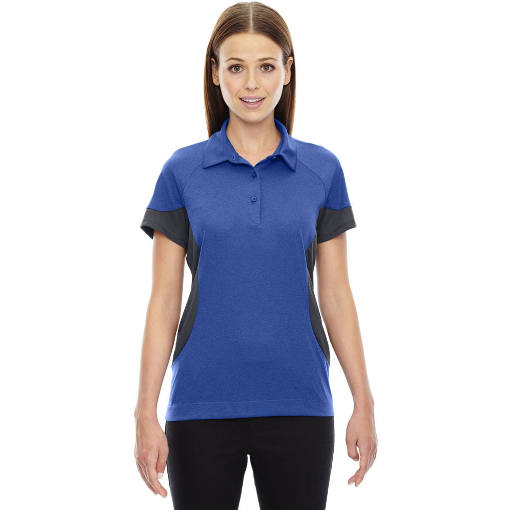 North End Women's Nautical Blue Refresh Coffee Performance Melange Jersey Polo