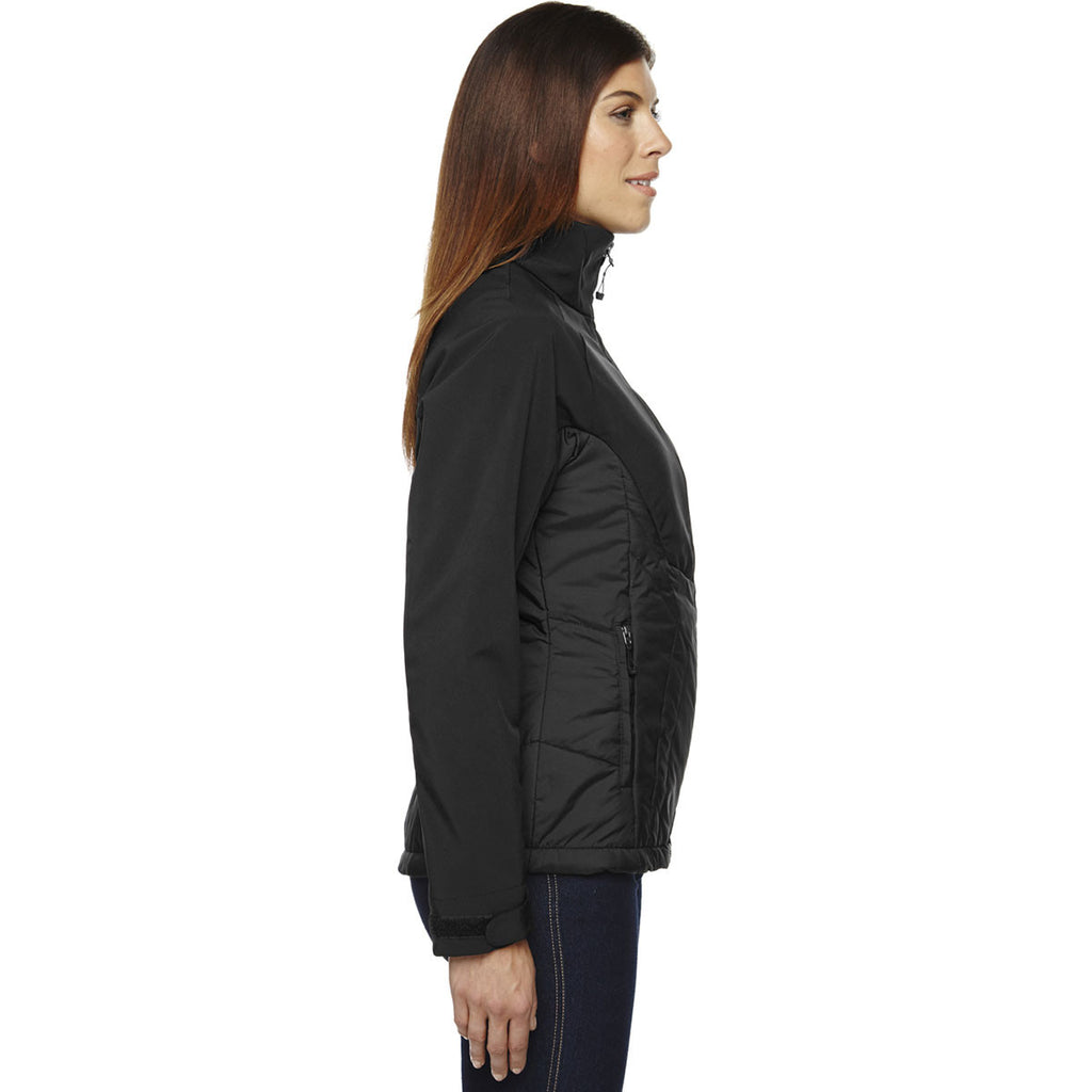 North End Women's Black Hybrid Soft Shell Jacket