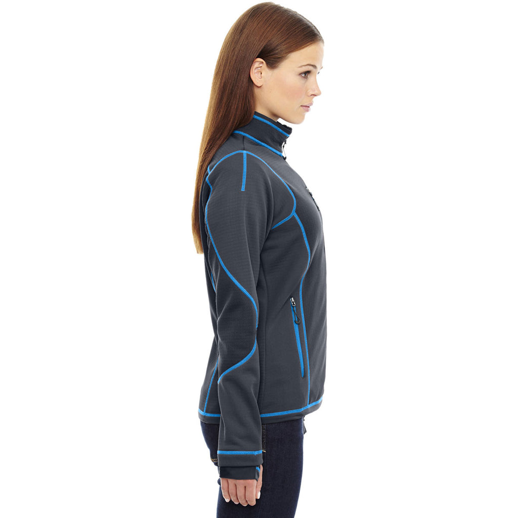 North End Women's Carbon/Olympic Blue Pulse Fleece Jacket with Print
