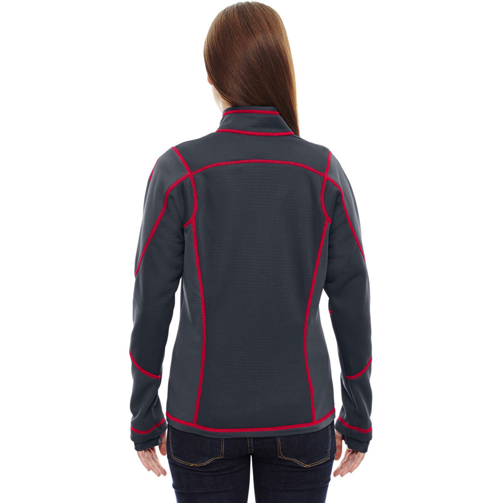 North End Women's Carbon/Olympic Red Pulse Fleece Jacket with Print