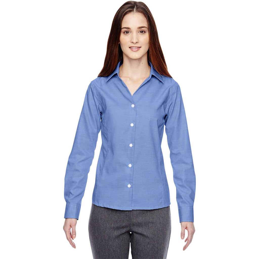 North End Women's Ink Blue Precise Two-Ply 80'S Dobby Taped Shirt