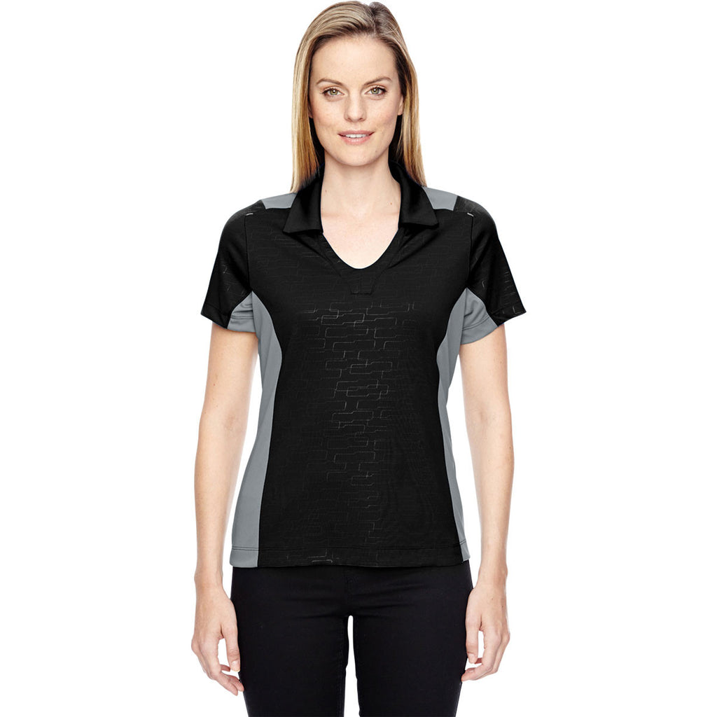North End Women's Black Performance Embossed Print Polo