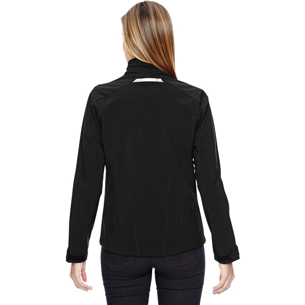 North End Women's Black Jacket with Laser Stitch Accents