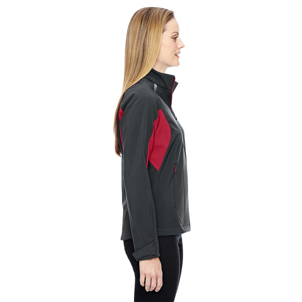 North End Women's Carbon/Olympic Red Jacket with Laser Stitch Accents