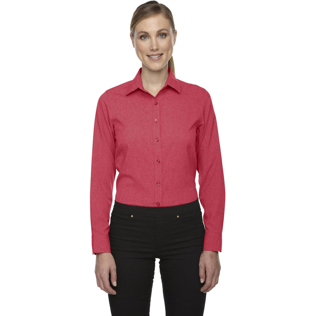 North End Women's Coral Heather Melange Performance Shirt