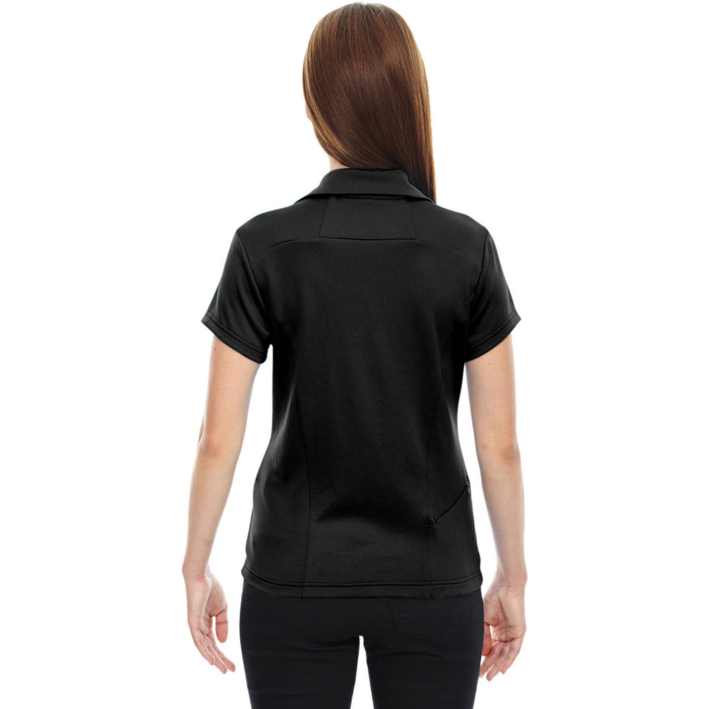 North End Women's Black Performance Polo with Back Pocket