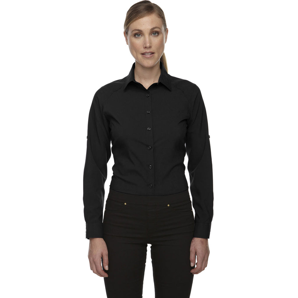North End Women's Black Performance Shirt with Roll-Up Sleeves