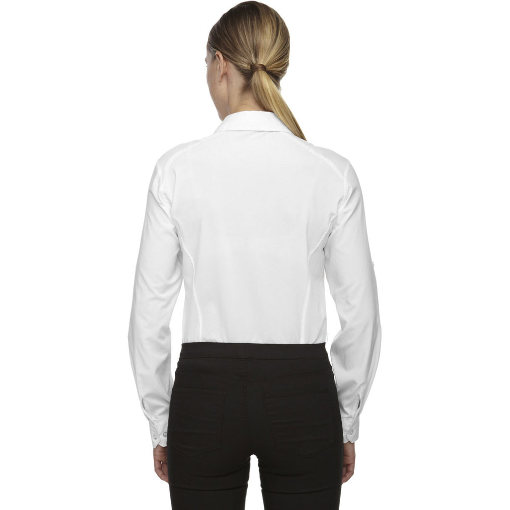 North End Women's White Performance Shirt with Roll-Up Sleeves