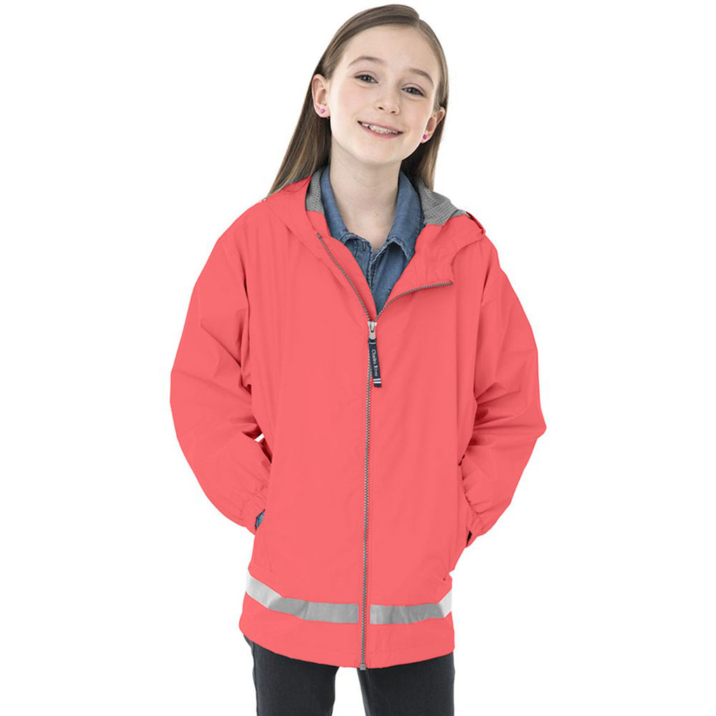 Charles River Youth Coral/Reflective New Englander Rain Jacket