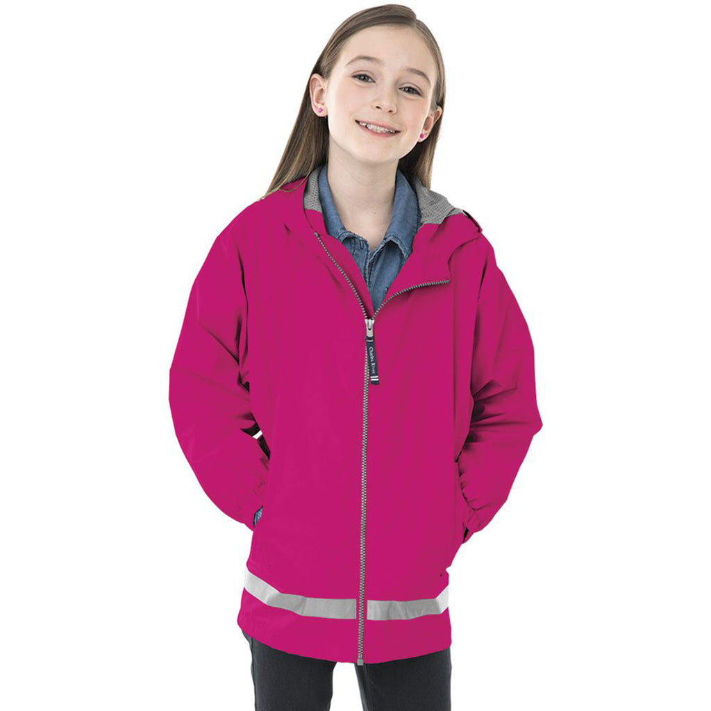 Charles River Youth Hot Pink/Reflective New Englander Rain Jacket