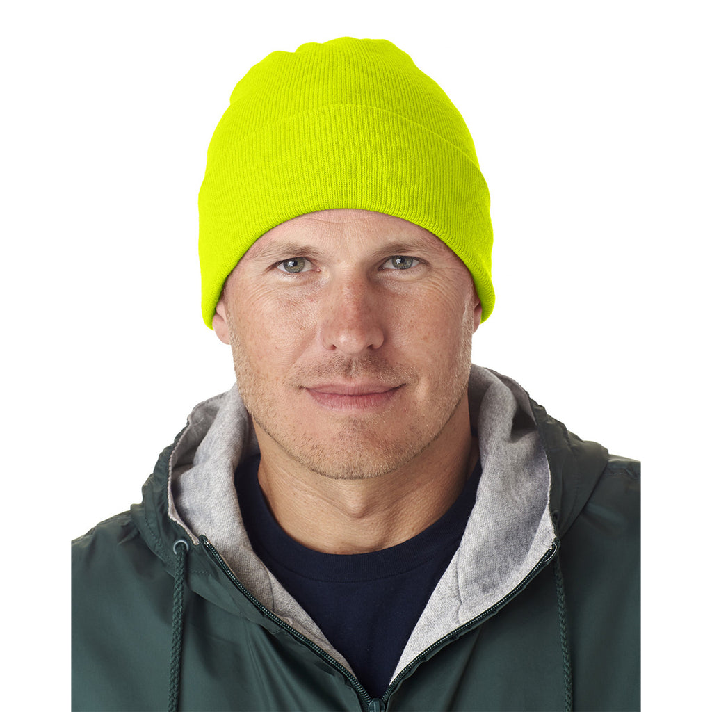 UltraClub Men s Safety Yellow Knit Beanie with Cuff. ADD YOUR LOGO ea5b118548c