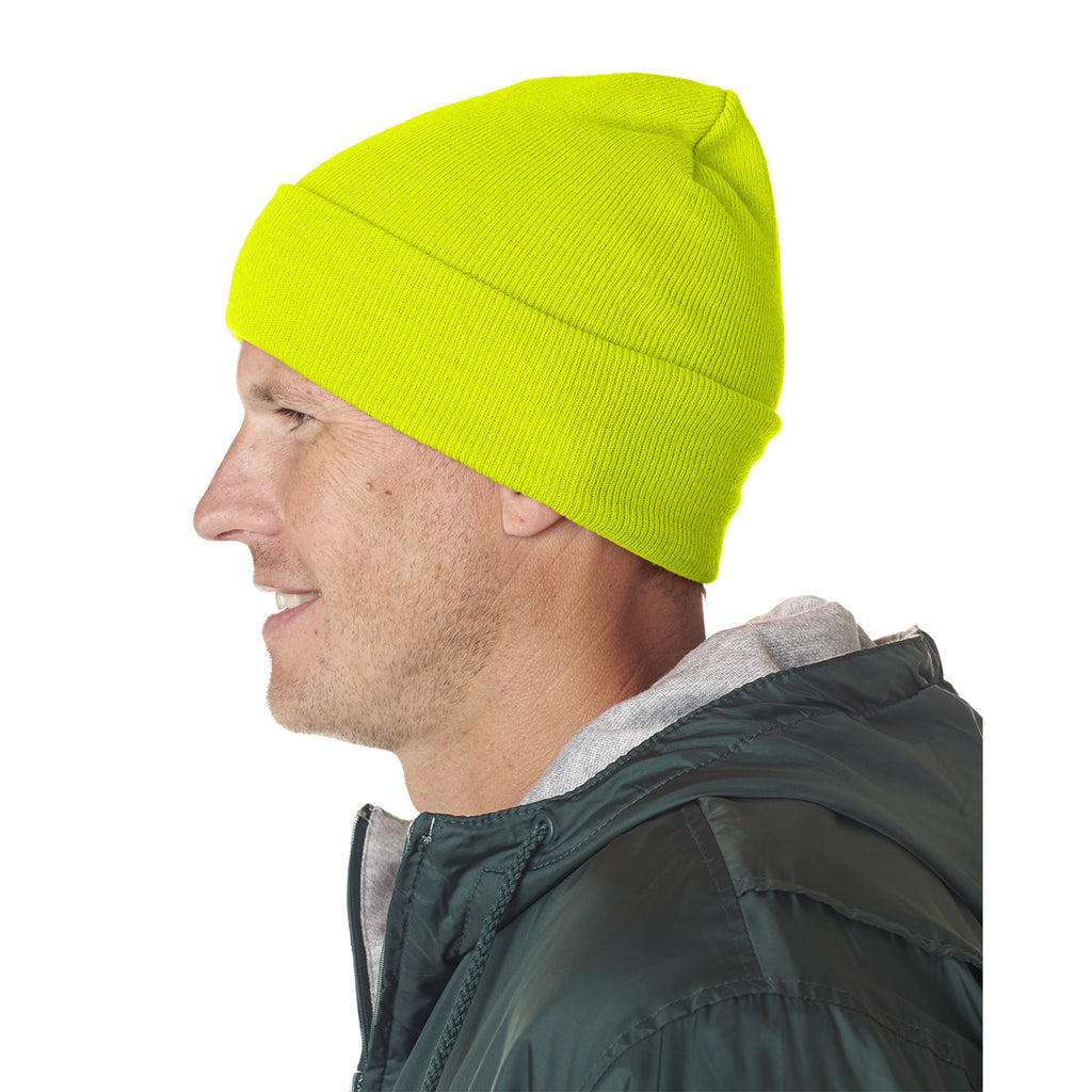 9e54584185e UltraClub Men s Safety Yellow Knit Beanie with Cuff