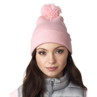 af7ae6bc21d UltraClub Women s Pink Knit Pom-Pom Beanie with Cuff