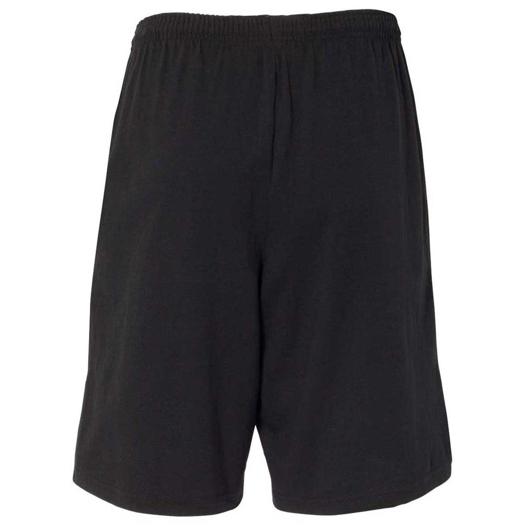 "Champion Men's Black 9"" Inseam Cotton Jersey Shorts with Pocket"